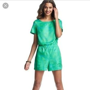 Loft 6P green and blue short sleeve romper